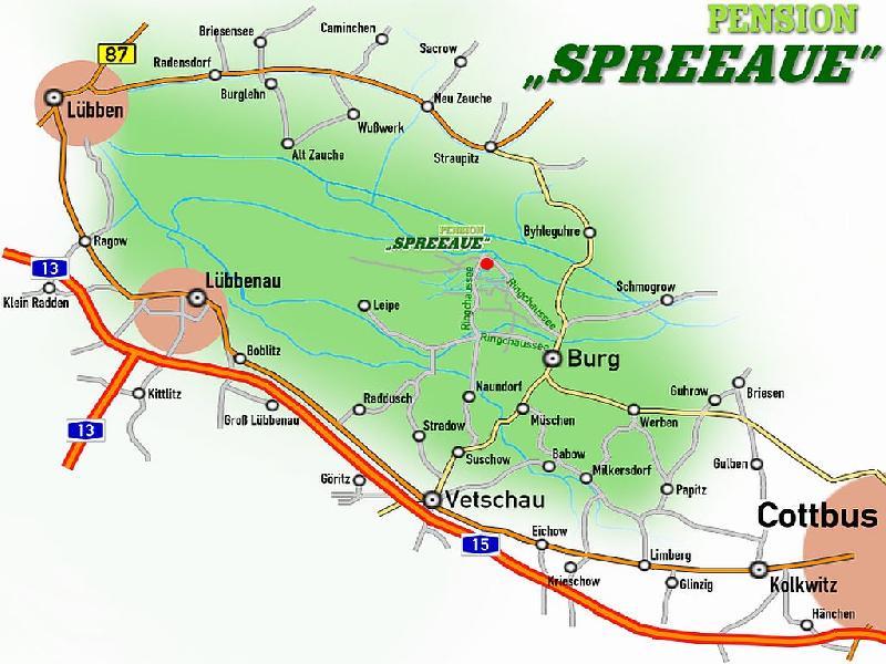 Lage der Pension Spreeaue in Burg, im Biosphärenreservat Spreewald