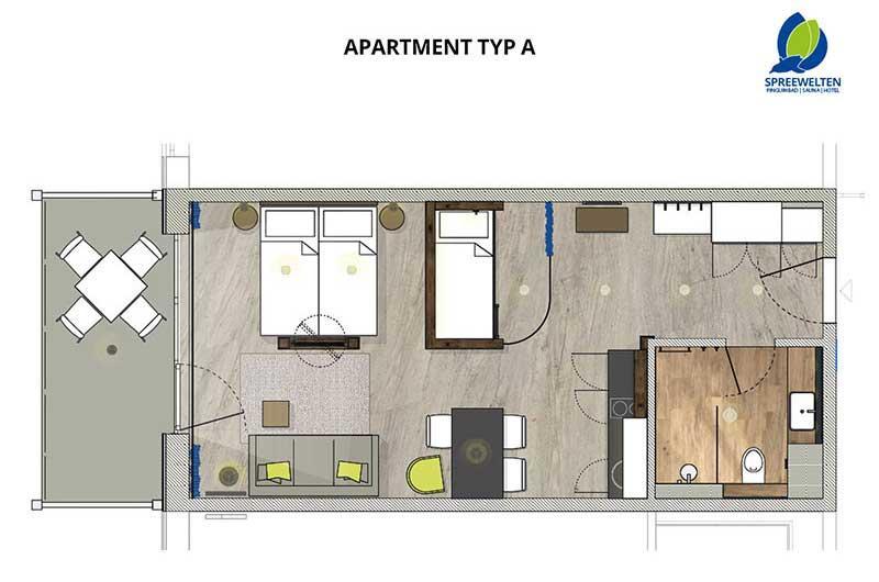 Hotel Spreewelten Grundriss Apartment A