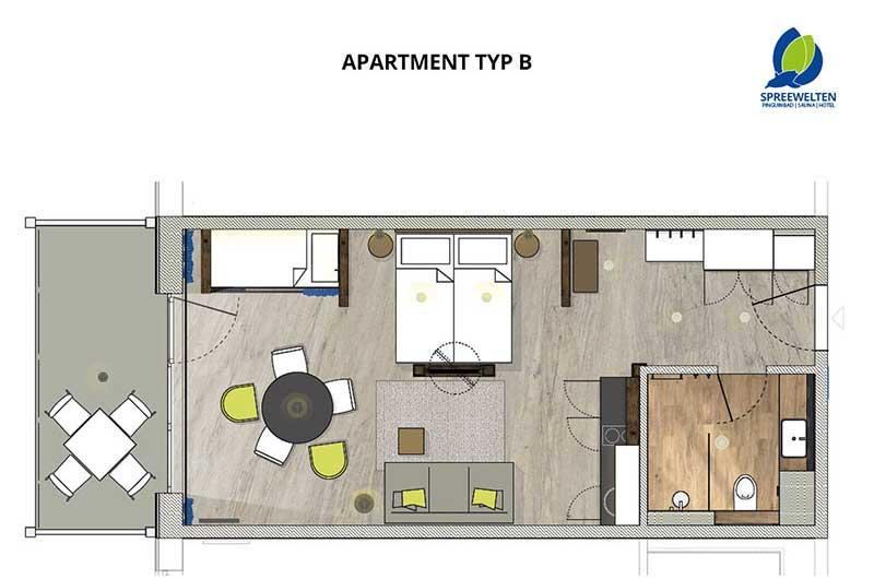 Hotel Spreewelten Grundriss Apartment B