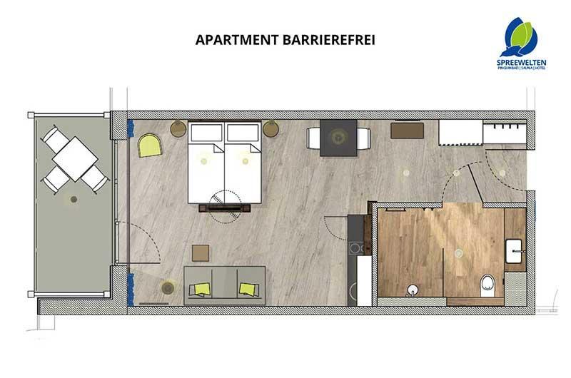 Hotel Spreewelten Grundriss Apartment Barrierefrei
